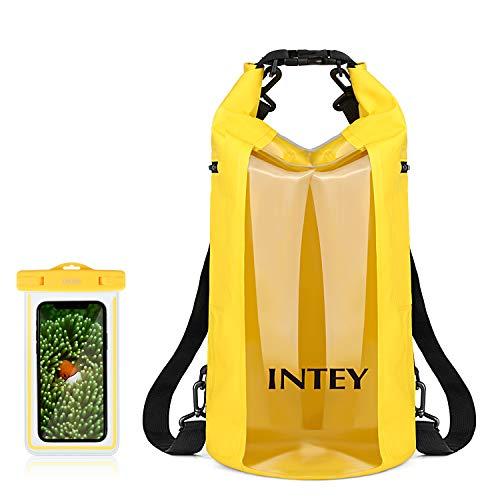 INTEY 20L Bolsa Impermeable de Primera Calidad Bolsa Seca de Teléfono con Correa de Hombro Ajustable para Camping, Pesca, Kayak