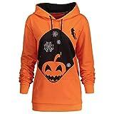 VEMOW Herbst Winter Casual Damen Langarm mit Kapuze Halloween Kordelzug Gedruckt Party Tägliche Mode Hoodie Sweatshirt Tops(Orange, EU-46/CN-XL)