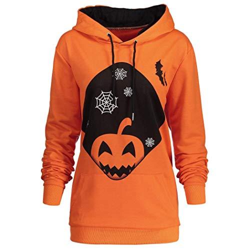 VEMOW Herbst Winter Casual Damen Langarm Mit Kapuze Halloween Kordelzug Gedruckt Party Tägliche Mode Hoodie Sweatshirt Tops(Orange, EU-40/CN-S)