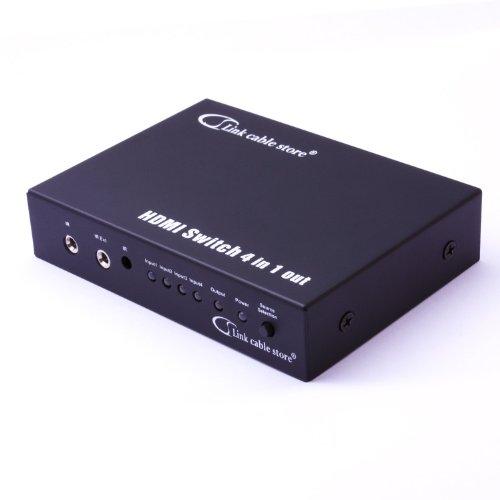 LCS - NUOVO 4x1 SWITCH HDMI 1.4a custodia in metallo - ALTA VELOCITA - HDMI 1.4 ** 3D + ETHERNET ** ULTIMA GENERAZIONE (condivisione internet tramite HDMI) - Hub 3x1 con telecomando - 1080p - HD segnale audio (Dolby Digital, DTS, 5.1, 7.1, ecc ..) - DVD / Blu-Ray / Xbox 360 / PS3 / LCD Full HD / plasma & LED / decoder compatibile.