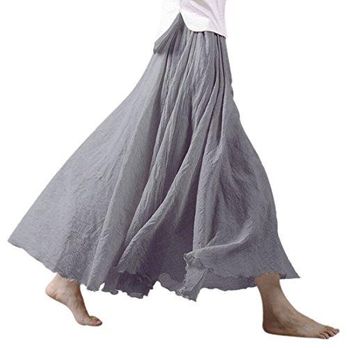 Nlife Frauen b▒hmische Baumwolle Leinen Double Layer elastische Taille langen Maxi Rock Light Grey Gr.95cm