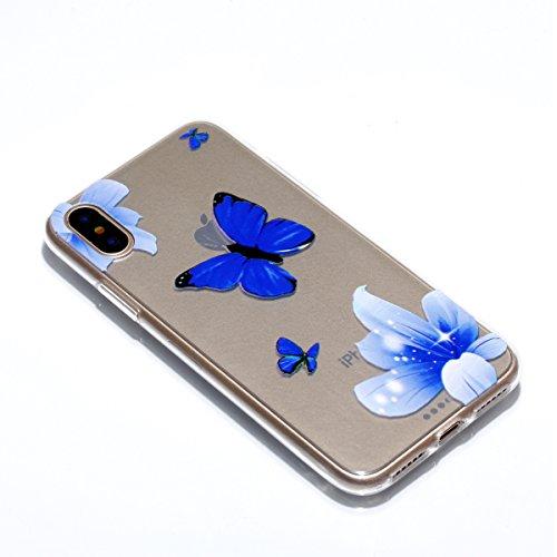 Ecoway Apple iphone X Case Cover, TPU Clear Soft Silicone Impression de la cire d'huile Housse en silicone Housse de protection Housse pour téléphone portable pour Apple iphone X - Motif 1 Motif 5
