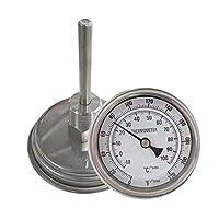 """Caractéristiques du thermomètre:  1. 3 """"Cadran, 2"""" longueur de sonde  2. 0 à 220 degrés (F), -10 à 100 (C)  3. Construction en acier inoxydable 304  4. Vis de réglage pour réglage fin. 5. Tous les raccords sont en acier inoxydable 304, filetage 1/2 """"..."""