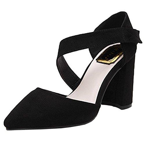 Oasap Women's Pointed Toe Velcro Block Heels Pumps Black