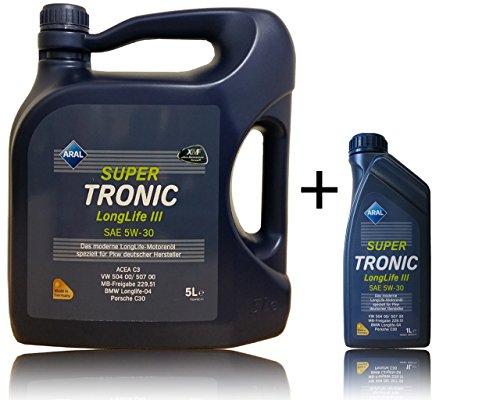 1 L + 5 L = 6 Aral SuperTronic Longlife III 5W-30 Super Tronic Motor-Öl Motoren-Öl;...