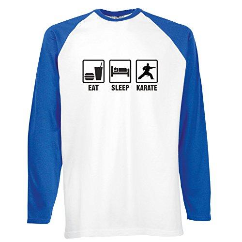 Brand88 - Eat Sleep Karate, Langarm Baseball T-Shirt Weiss & Blau