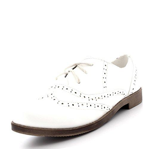 Viva Femmes Broguess Cap Daile Travail Cru Formel Designer Bureau Chaussures Plates Blanc