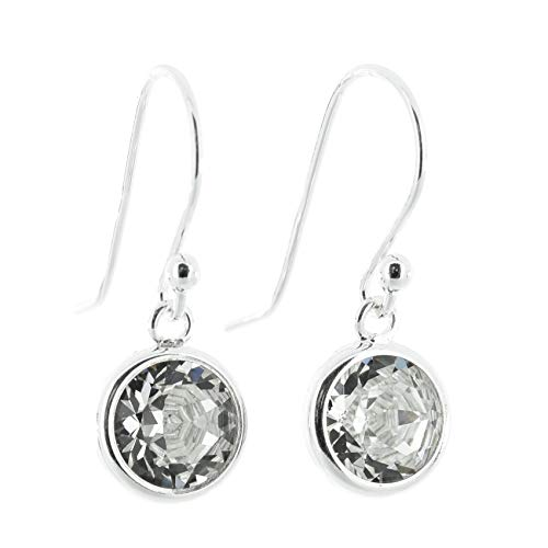 925 Sterling Silver fishhook earrings for women made with sparkling Diamond  White crystal from Swarovski® in silver channel settings  London jewellery