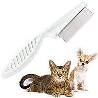 Aolvo - Peine de acero inoxidable para gatos y perros – elimina pulgas y huevos de pulgas y desechos del abrigo de tu mascota, apto para la mayoría de perros, gatos, conejos, mascotas – la mejor herramienta de aseo