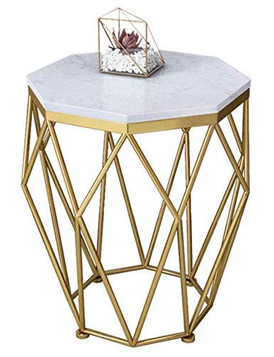 Table Basse en marbre/Table d'appoint en Fer forgé, Petit Appartement Simple, mobilier de Table de Salon Moderne, Support en métal, Rond, Or/Noir (47 × 47 × 56cm)