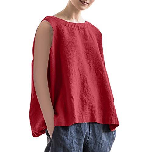 Frauen Frühling und Sommer T-Shirt,Rifuli® Art und Weise beiläufige Oansatz Feste ärmellose Leinenweste Trägershirt-Blusen Tops Blusen Tuniken Bekleidung Damen