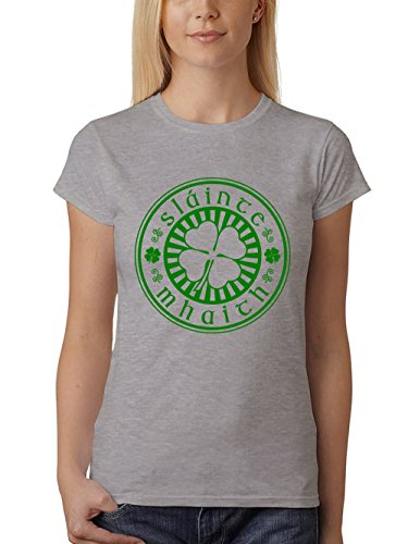 clothinx Damen T-Shirt Sláinte Mhaith St Patricks Day Sports Grey