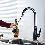 Gimili Küchenarmatur Wasserhahn Waschtischarmatur Armatur mit Ausziehbarer Brause Schwarz