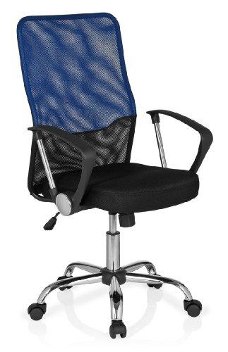 hjh OFFICE 685336 Bürostuhl Drehstuhl FOLEY NET Netzstoff schwarz blau, Bürodrehstuhl ergonomisch, gute Polsterung, mittelhohe Rückenlehne, feste Armlehnen, Schreibtischstuhl, Büro (Polsterung Stoff Schwarz Und Weiß)