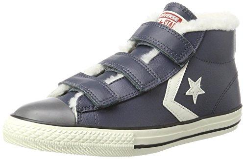 Converse Unisex-Kinder Star Player EV 3V MID Sharkskin/EGRET Hohe Sneaker, Blau, 35 EU