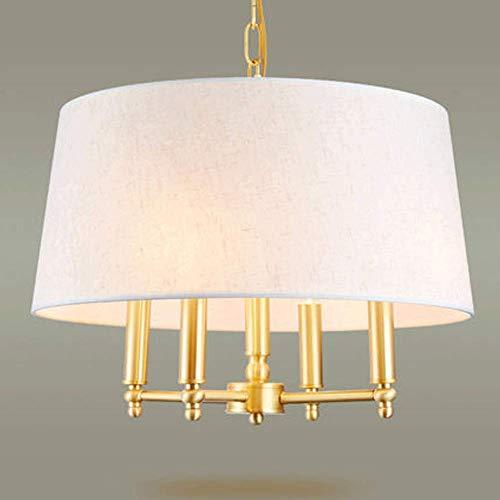 PENG Kronleuchter im amerikanischen Stil Kupfer Schlafzimmer Kronleuchter modernen minimalistischen Restaurant Zimmer Beleuchtung hochwertige Stoff Runde Scheinwerferabdeckung Kupfer Lampe