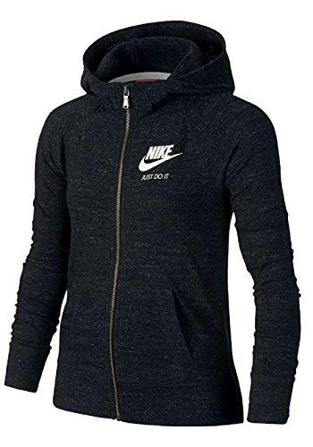 Nike Gym Vintage FZ Hoodie YTH Sweatshirt, Mädchen XS Black (Schwarz/Segel)