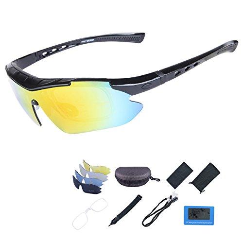 ShareWe Sportbrille Polarisierte Sonnenbrille Unisex Radbrille UV-Schutz Fahrradbrille mit 4 Wechselgläser für Radfahren Fahren Golf Baseball Volleyball Fischen (Schwarz)