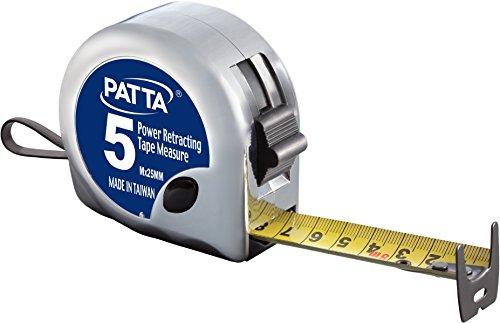 PATTA Power Rollmaßband 5M x 25mm mit metrischem und anglo-amerikanischem Maßstab, beidseitig bedruckt (Metrisch und Inch) -