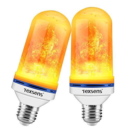 Texsens LED Flame Effect Glühbirnen - 4 Modi LED Flickering Fire Flame mit Upside-Down-Effekt, simulierte dekorative Lichter Vintage Flaming Lamp für Halloween/Weihnachtsdekoration/Party/Bar-2 Pack