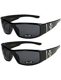 2er Pack Choppers 6608 X01 Sonnenbrillen Motorradbrille Sportbrille Radbrille in den Farben schwarz, anthrazit, silber und weiß