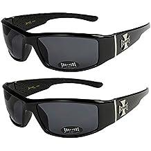 2er Pack Choppers 911 Sonnenbrillen Motorradbrille Sportbrille Radbrille - 1x Modell 04 (silber / schwarz getönt) und 1x Modell 04 (silber / schwarz getönt) - Modell 04 + 04 - MjPJg
