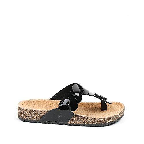 Ideal Shoes Nu-Pieds Vernis Style Orthopédique Fidja Noir