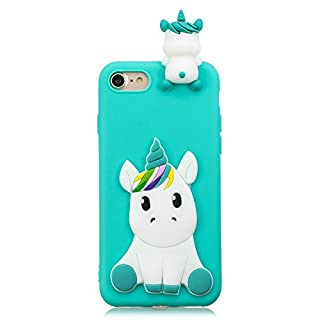ZCXG Compatible with iPhone 7 iPhone 8 Case Light Blue Unicorn Silicone Clear View Cover 3D Case Ultra Thin Back Bumper Case Rubber Shockproof Anti-Scratch Slim Soft Cover Slim Fit Crystal