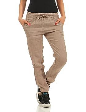 ZARMEXX Pantalones de lino de damas Pantalones de verano de algodón ocasionales Pantalones largos de viaje