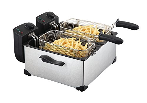 Edelstahl doppelt Fritteuse Friteuse Frittöse Fritöse 2 x 3 Liter 4400 Watt