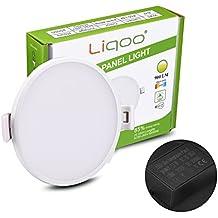 Liqoo® 12W LED Panel Luz de Techo Lámpara Empotrable Focos Downlight Ultra delegada Transformador Incluido Redondo Blanco Cálido 3000K Ángulo de visión 120 ° 900LM