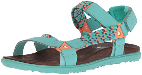 Merrell Around Town Sunvue Woven, Sandales Bout Ouvert Femme Turquoise