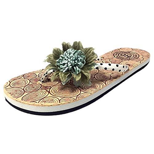 Mitlfuny Damen Sommer Sandalen Bohemian Flach Sandaletten Sommer Strand Schuhe,Sommer Frauen rutschfeste Blume Flip Flops Sandalen Flache Strand Hausschuhe (College Paare Kostüme)