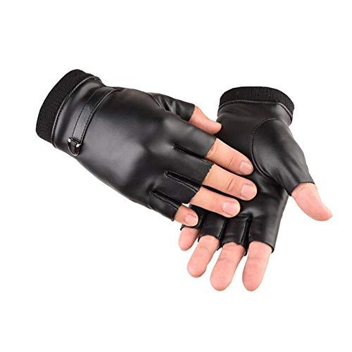 Handschuhe Fäustlinge CJC Hälfte Finger Fingerlos Herren Winter Warm Motorrad Draussen Sport Radfahren Fahrrad (Farbe : SCHWARZ, größe : One Size)