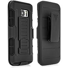 Samsung Galaxy S7 - BaboTech® Outdoor Armor Hybrid Case mit Gürtel Halterung und Ständer [Shockproof] in schwarz