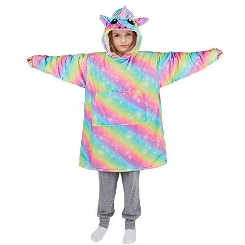 Basumee Einhorn Pullover Decke Kinder Oversize Hoodie Decke Sweatshirt Decke Kapuzen TV Kuscheldecke für Mädchen Jungen mit Ärmel und Tasche aus Polyester Sherpa und Plüsch