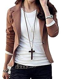 today-UK Women Lapel Solid Suit Coat Jacket Blazer Outwear