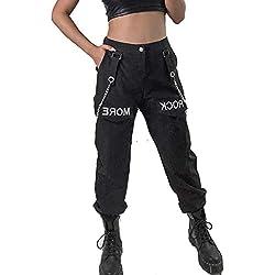 Pantalones De Carga De Mujer De Alta Cintura Cadenas Verano Casual Vapor Punk Pantalones Negro M