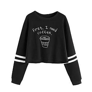 BaojunHT Women Round Neck Casual Hoodies Letter Print Crop Top Pullover Sweatshirt