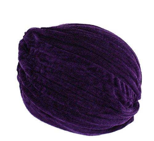 Zac's Alter Ego® Turban plissé vintage en velours Idéal pour perte de cheveux ou style Violet - Violet