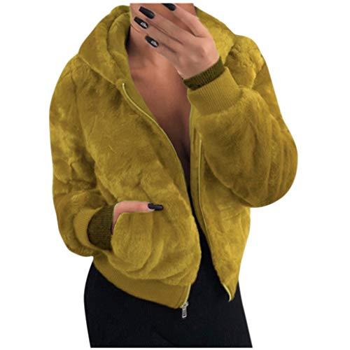 LILICAT Damen Winter Mantel Revers Faux Für Lose Langarm Jacken Outwear Tasche Reißverschluss Winterjacke Mode Kurz Coat Oberteile Freizeitjacke Warme Plüschjacke Kapuzenjacke