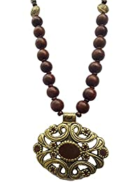 Yuvika Creations Funky Wooden And Metal Pendant Brown Charm Necklace For Women