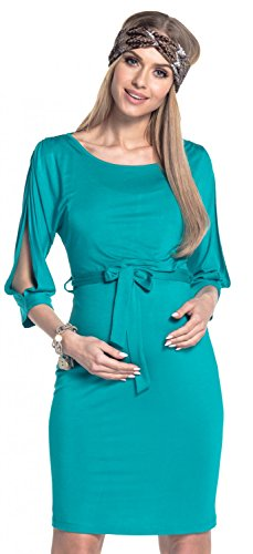 Happy Mama. Damen 2in1 Umstands Still-Midikleid Lagendesign Schulterfreies. 432p Teal