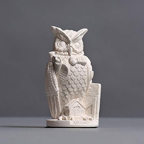 Skulpturenmanufaktur Potsdam Owl in Cover for architects, Zellan Sculpture, Craft Made in Germany, Idea Gift Idea, Bust in White, 12 cm