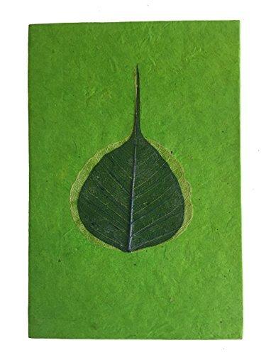 Fatto A Mano Lokta Carta Verde Peepal Foglia Taccuino / Giornale / Diario - Commercio Equo Solidale
