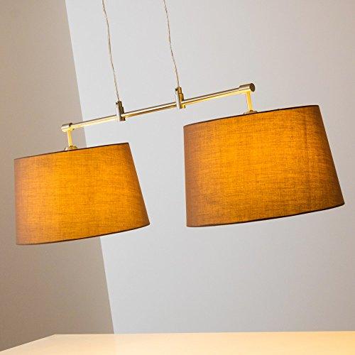 Pendelleuchte aus Stoff  – 2-flammige Zimmerlampe Höhenverstellbar, Farbe Cappuccino - 5