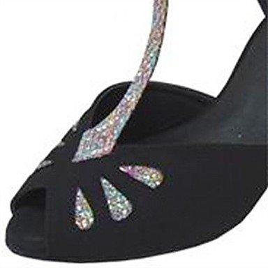 XIAMUO Anpassbare Damen Tanz Schuhe Beflockung/funkelnden Glitter Latin/Salsa Sandalen/Fersen angepasste Ferse Schwarz