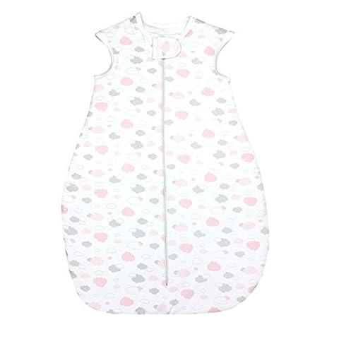 TupTam Babyschlafsack Wattiert Mädchen Ganzjahres Kinderschlafsack ohne Ärmel Jungen Schlafsack, Farbe: Wolken Grau/Rosa, Größe: 68-74