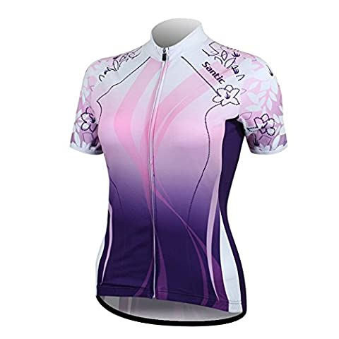 Santic Women's Cycling Jersey Ladies Cycle Tops Bicycle Breathable Short