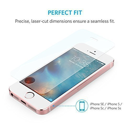 Anker Glas Schutzfolie für Apple iPhone SE / iPhone 5S / iPhone 5C / iPhone 5 Premium Klar Anti-Kratz-Screen Protector Displayschutz - 9H Hardness aus gehärtetem Glas - 5